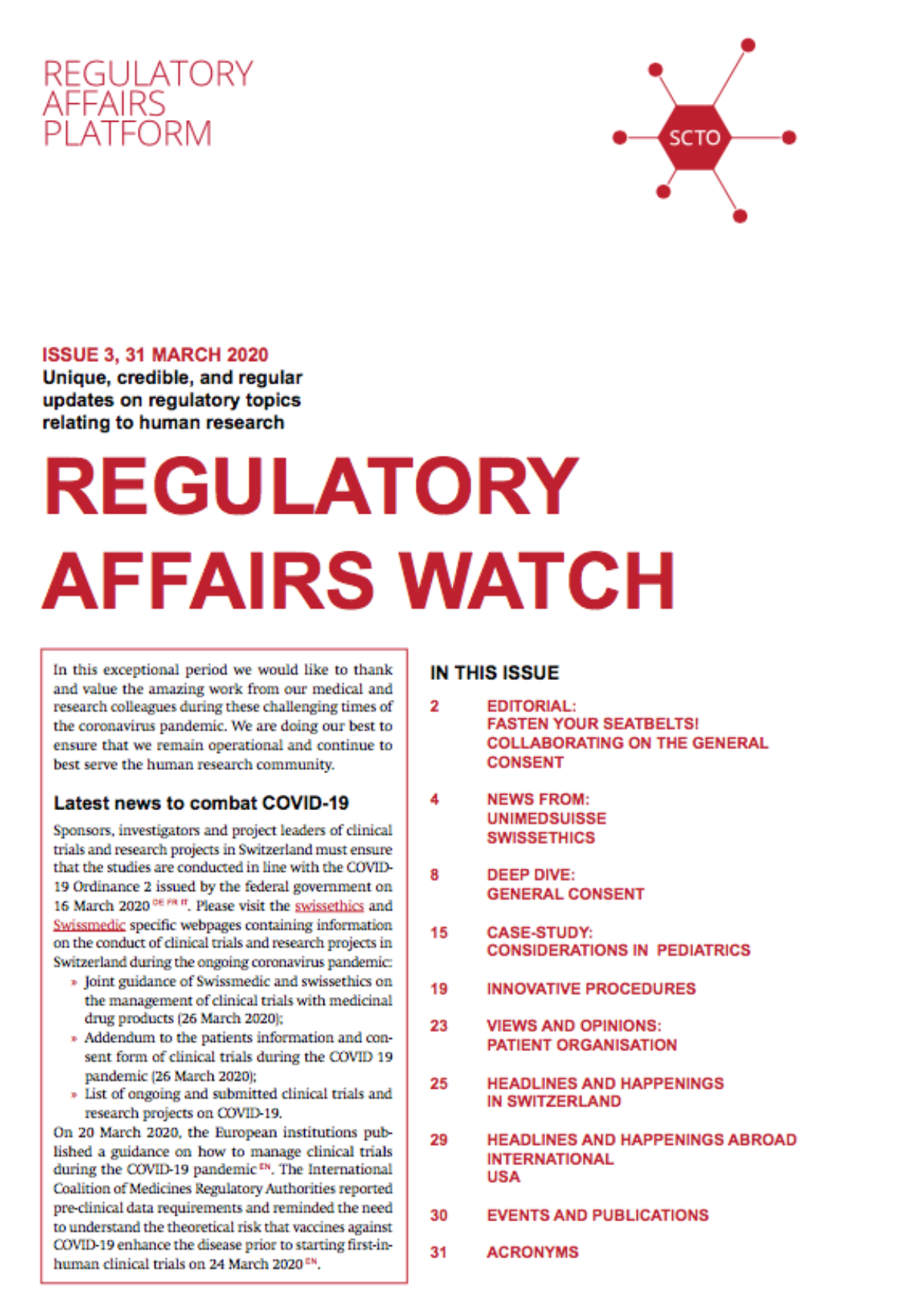 Regulatory Affairs Watch Issue 3