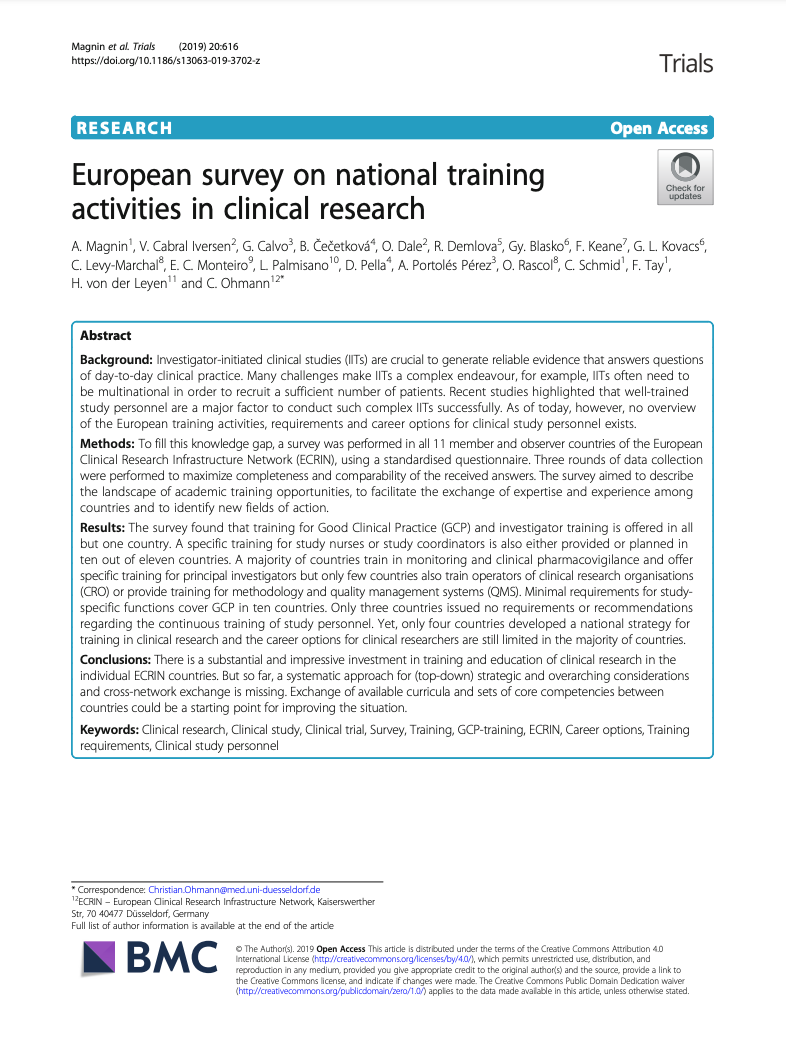 Trials Journal European survey on national training